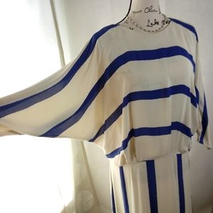 Vintage Dresses - Vintage Lynda Pizzuto Pheobe Blue Ivory Dress 13